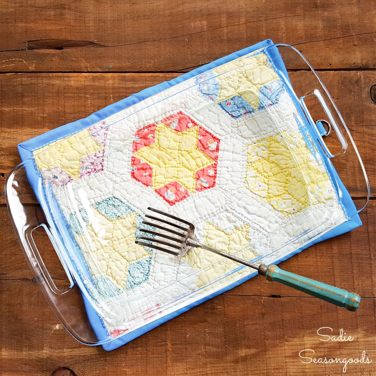 quilted pot holder from a vintage quilt