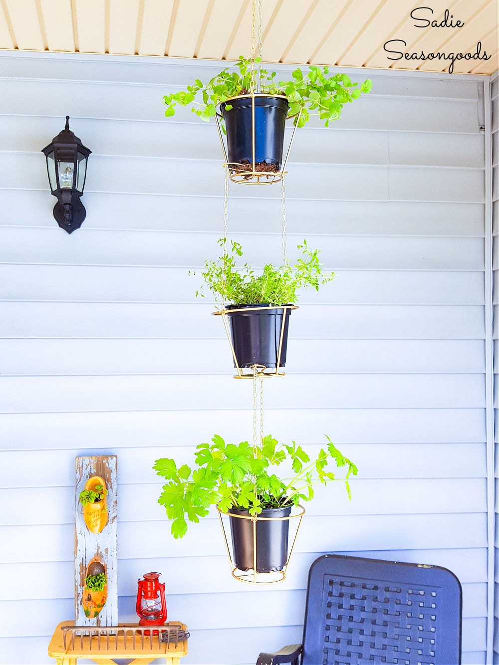 wire lampshades as hanging planters