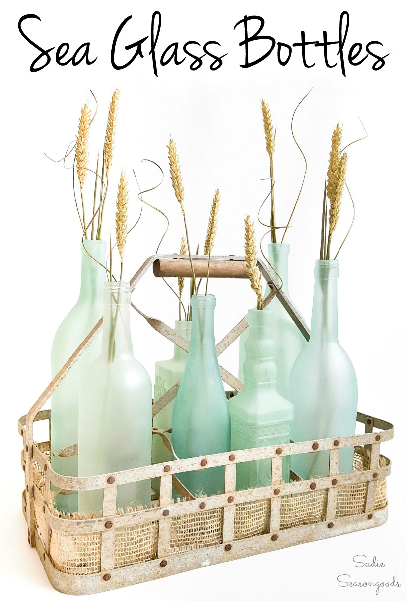 DIY Sea glass bottles from Empty Wine Bottles for Coastal Decor