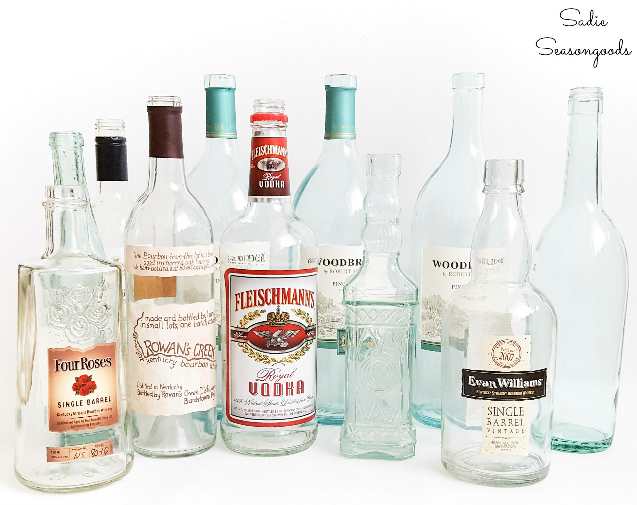 Empty glass bottles for wine bottle crafts
