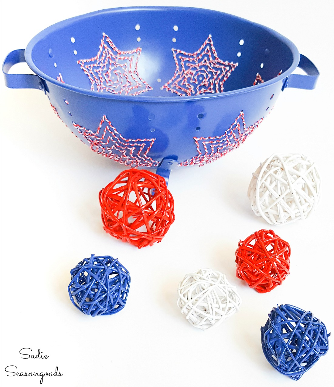 Metal strainer as patriotic home decor