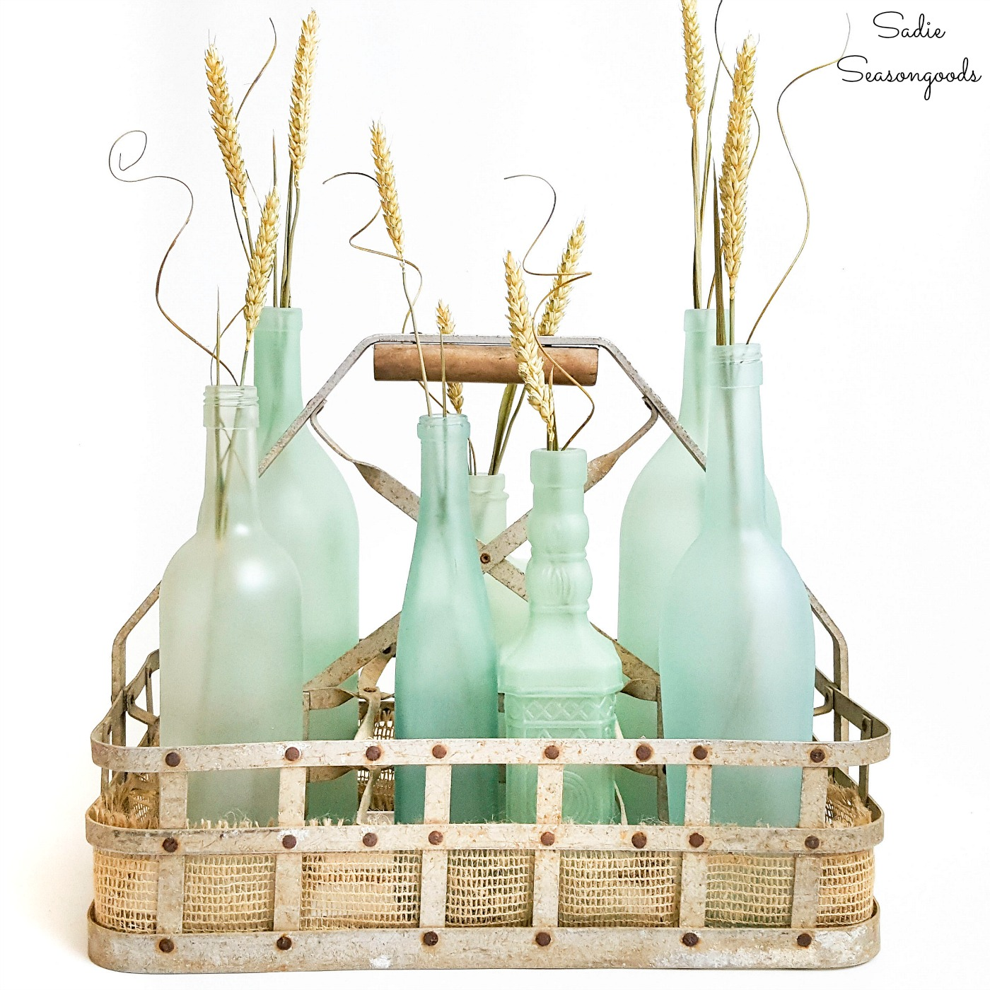 Sea Glass Bottles from the Recycling Bin for Coastal Decor