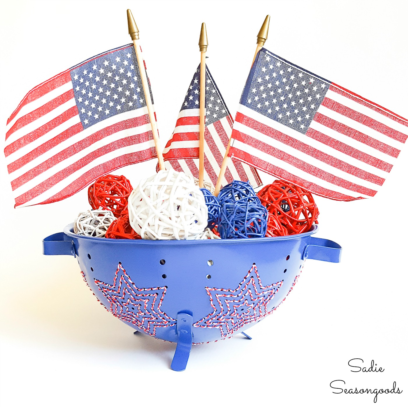 Star Embroidery on a Vintage Colander as a Patriotic Centerpiece