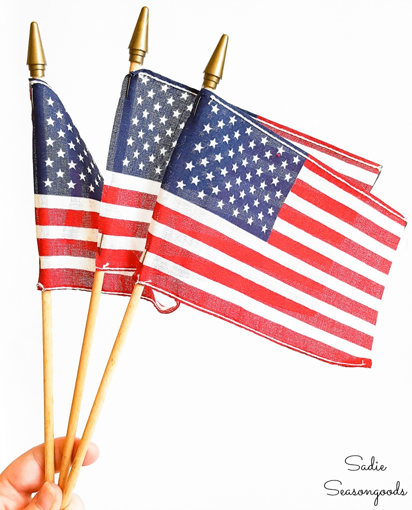 Table flags to go in a patriotic centerpiece