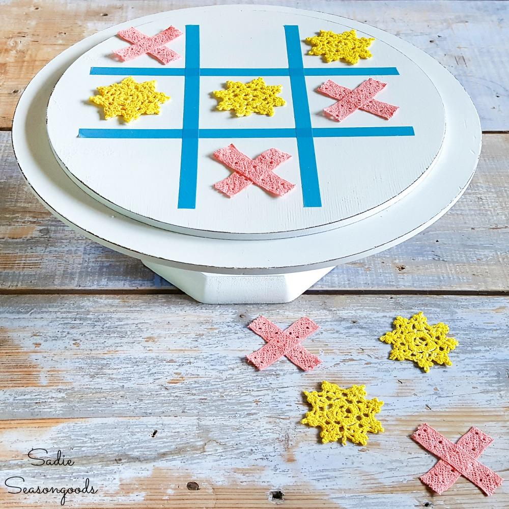Upcycling a Wooden Cake Stand into a Tic Tac Toe Game Board