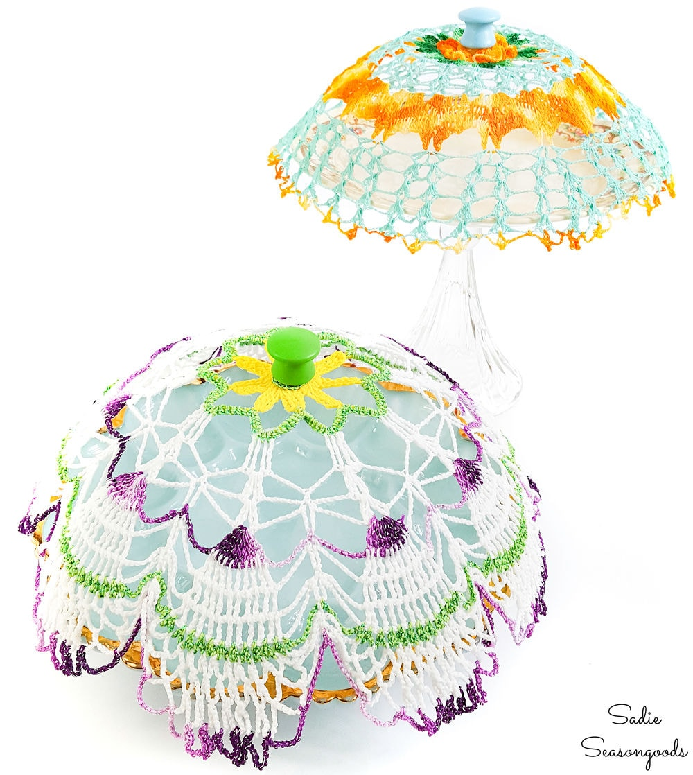 Making a plate cloche from a vintage doily