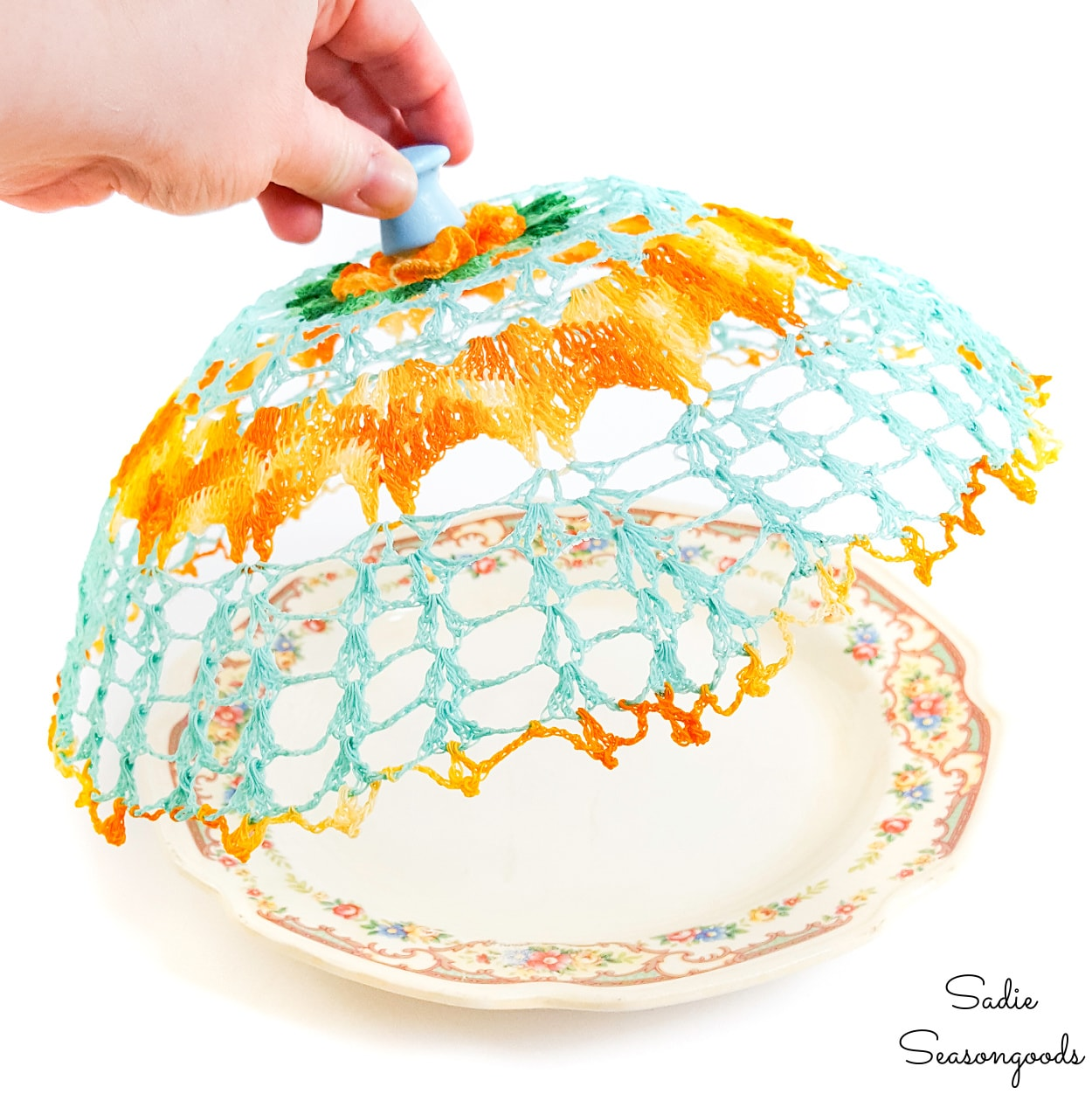 Plate Cloche from a Vintage Doily