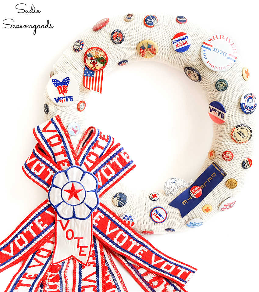 red white and blue wreath for patriotic door decor