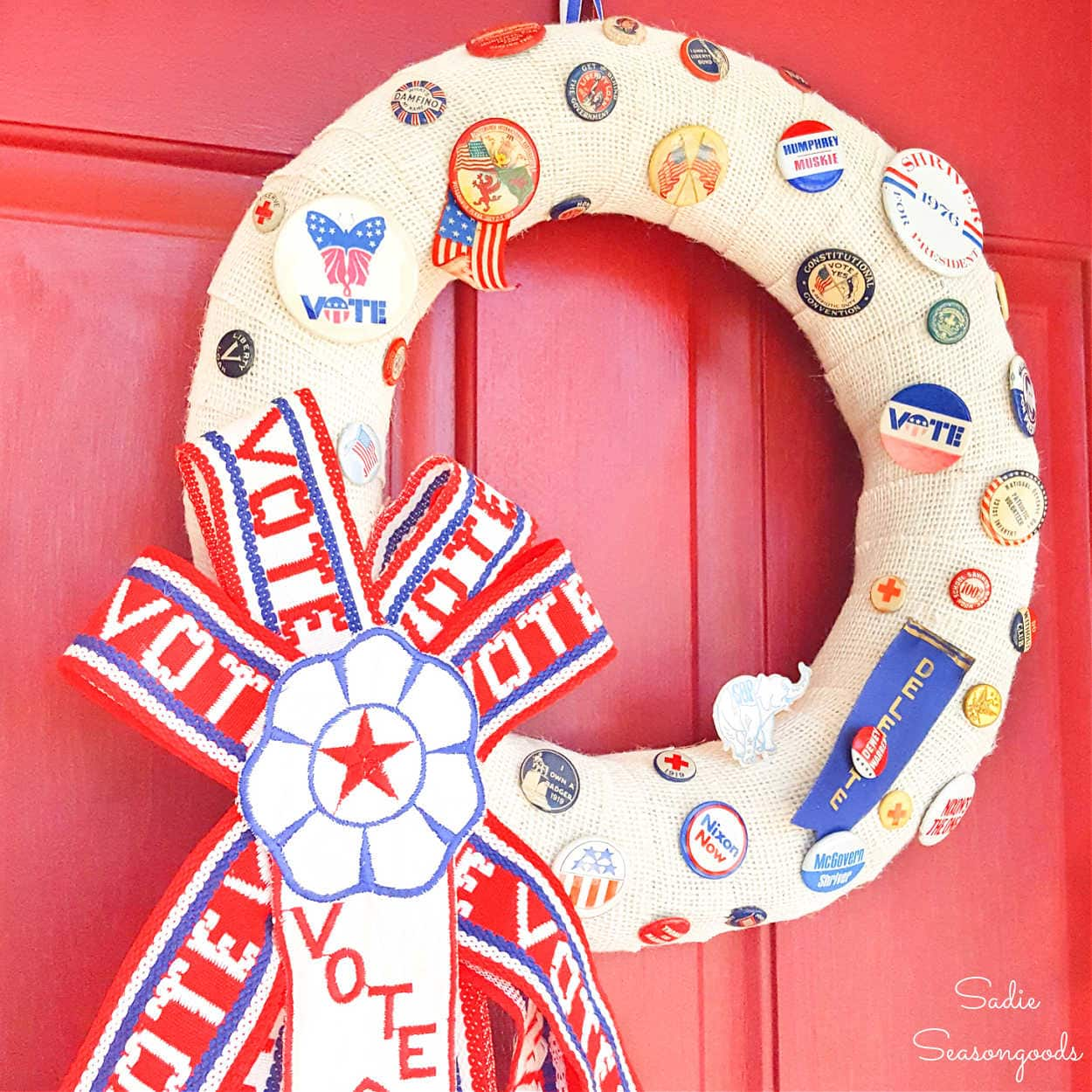 Red, White, and Blue Wreath with Vintage Campaign Buttons