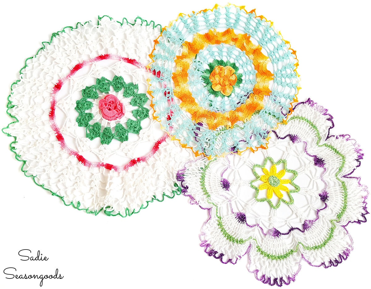 Vintage doilies for craft projects