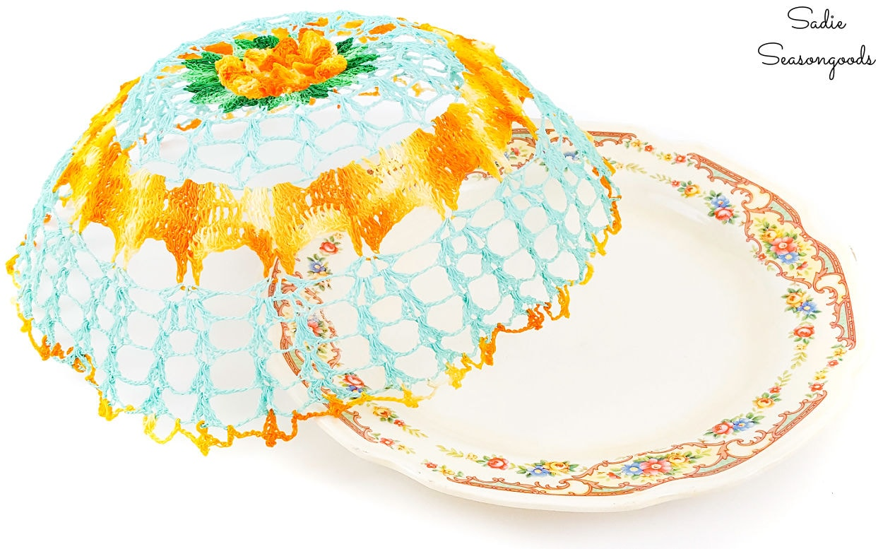 Vintage doily as a dinner plate cover