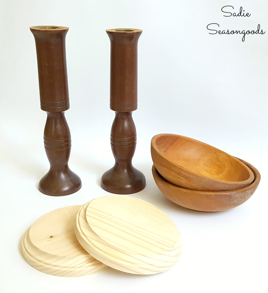 Building a hat holder or hat storage for Trilby hat by upcycling wooden bowls and wooden candlesticks by Sadie Seasongoods / www.sadieseasongoods.com