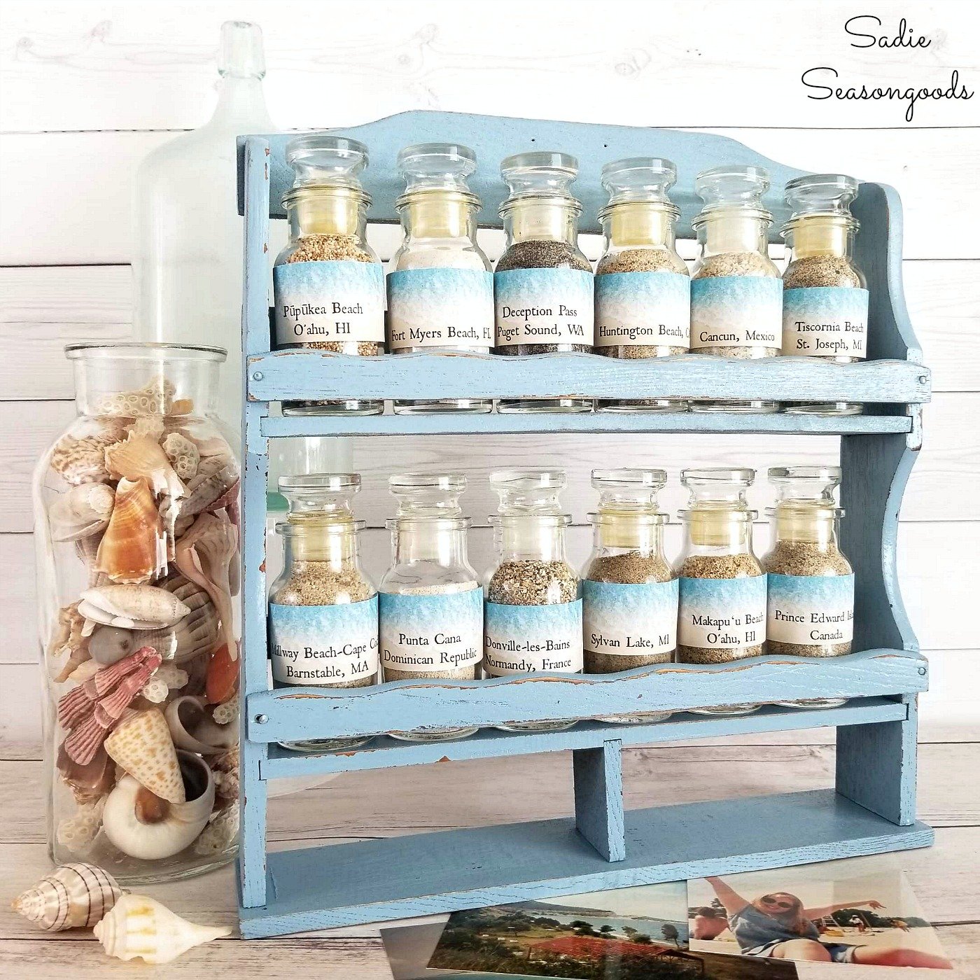 Beach Sand Collection Display Craft Project in an Upcycled Vintage Spice Rack by Sadie Seasongoods