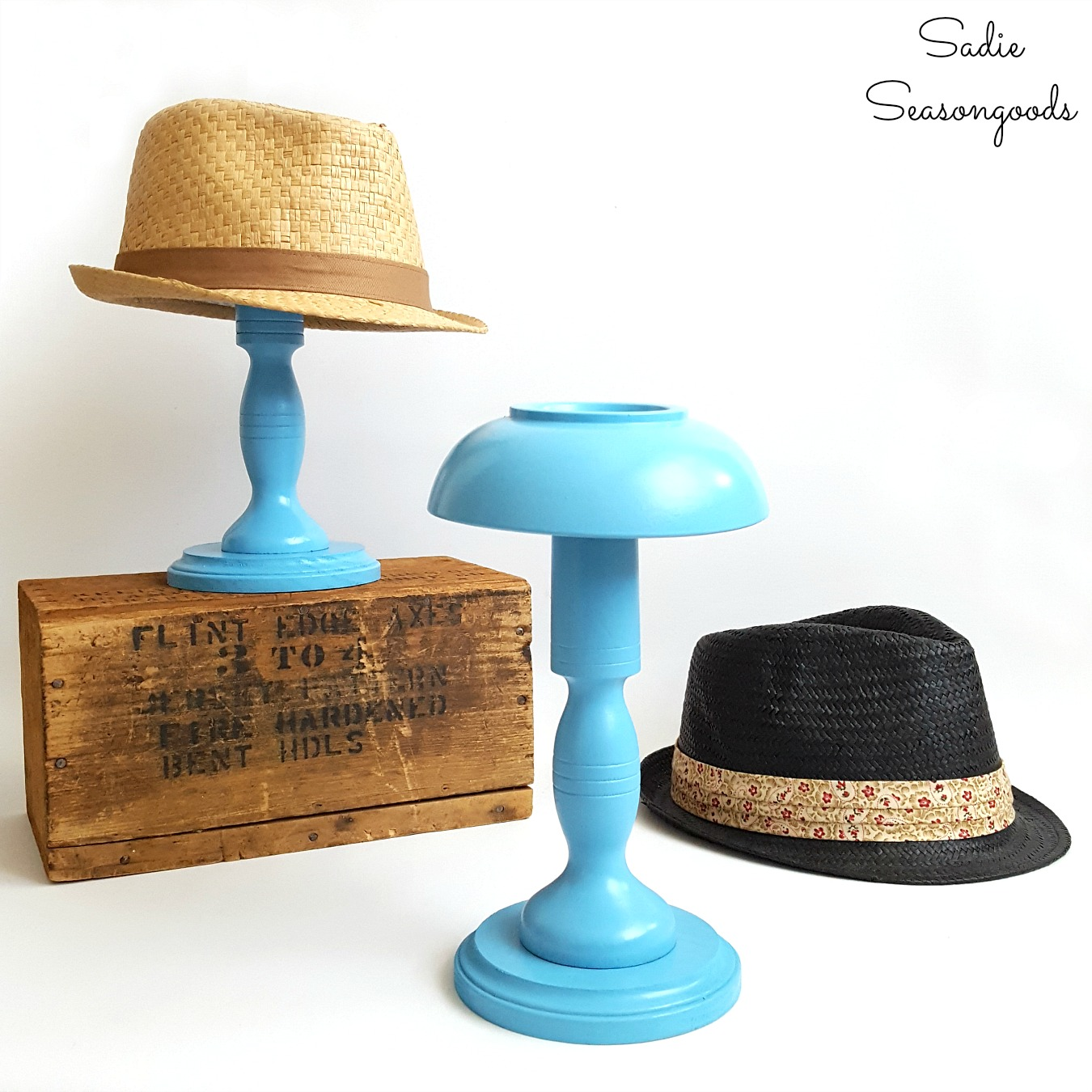 Hat Holder / Hat Storage from Upcycled Wooden Bowls and Wooden Candlesticks
