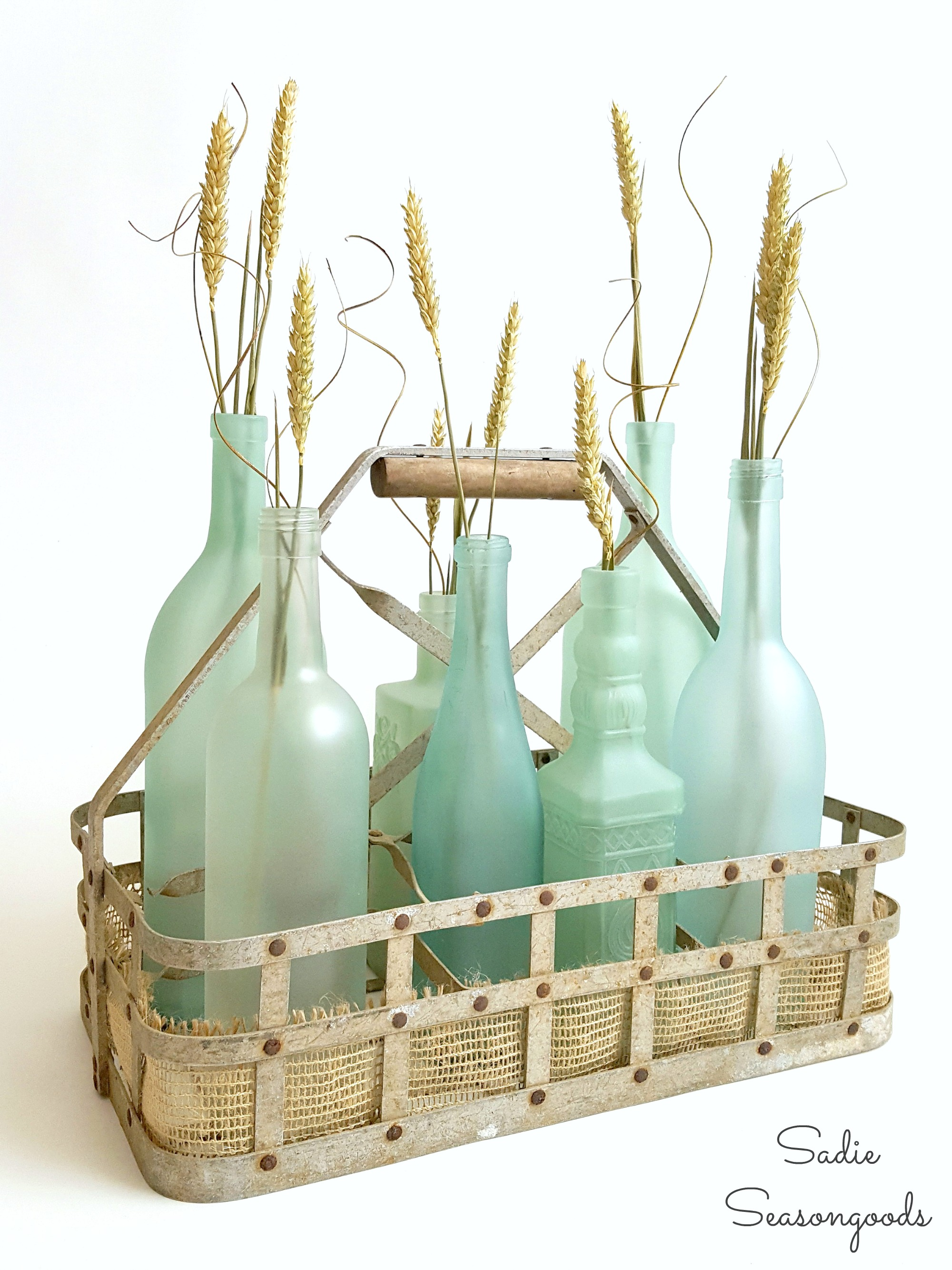 How to make sea glass bottles for beach cottage decor by recycling wine bottles by Sadie Seasongoods