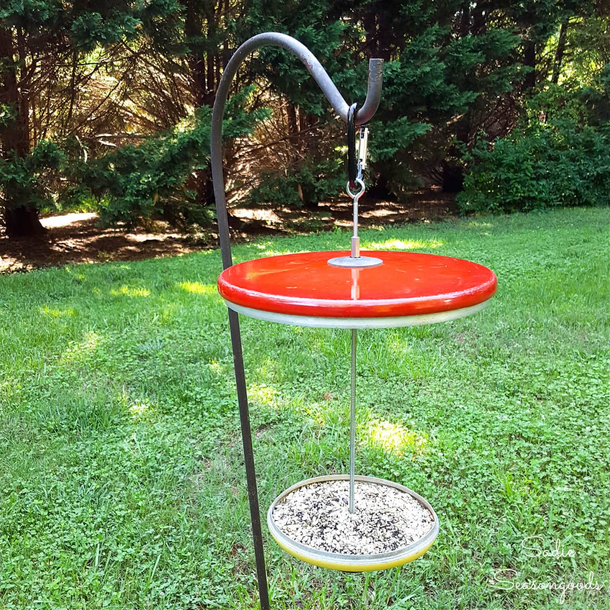 Platform Bird Feeder from Repurposed Pot Lids