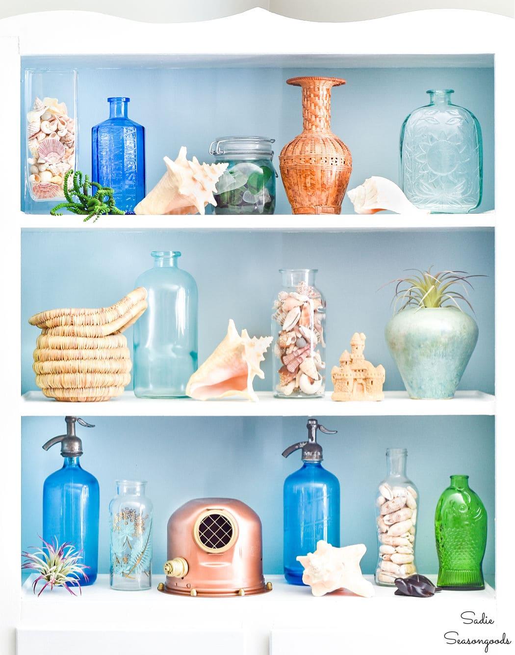 styling shelves for coastal decor