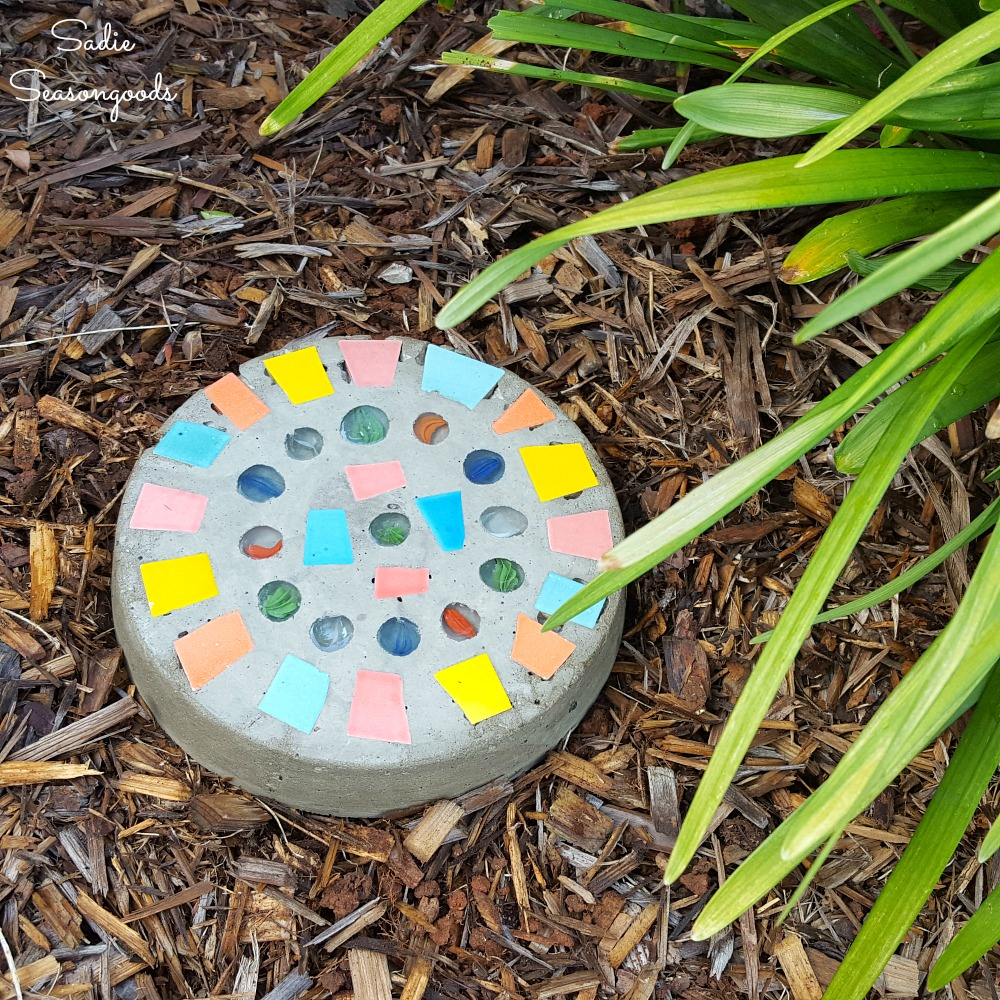 Garden stepping stones that are also a hide a key rock or outdoor key hider with pill bottle by Sadie Seasongoods