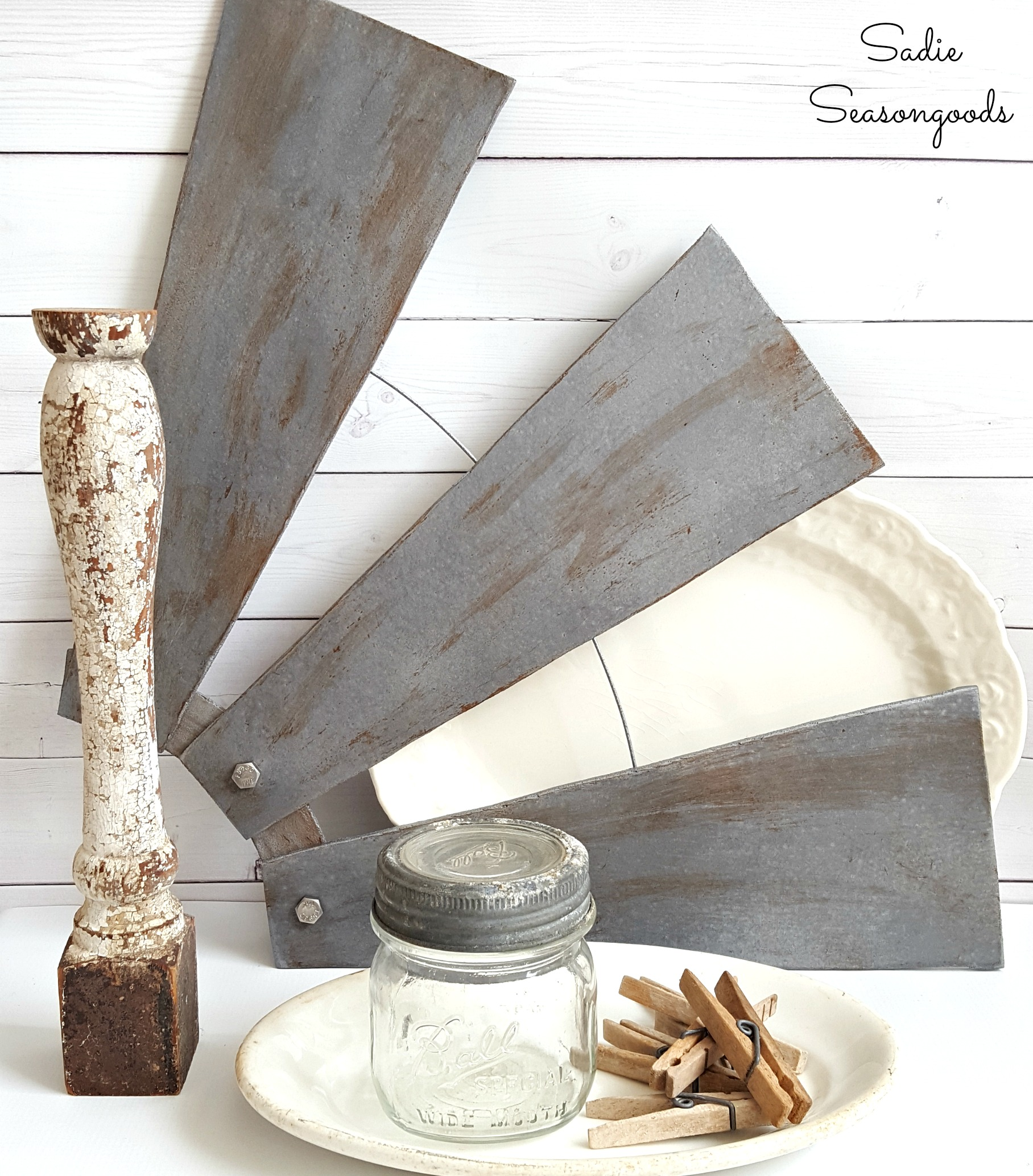 Farmhouse wall decor or windmill wall decor from ceiling fan blades by Sadie Seasongoods