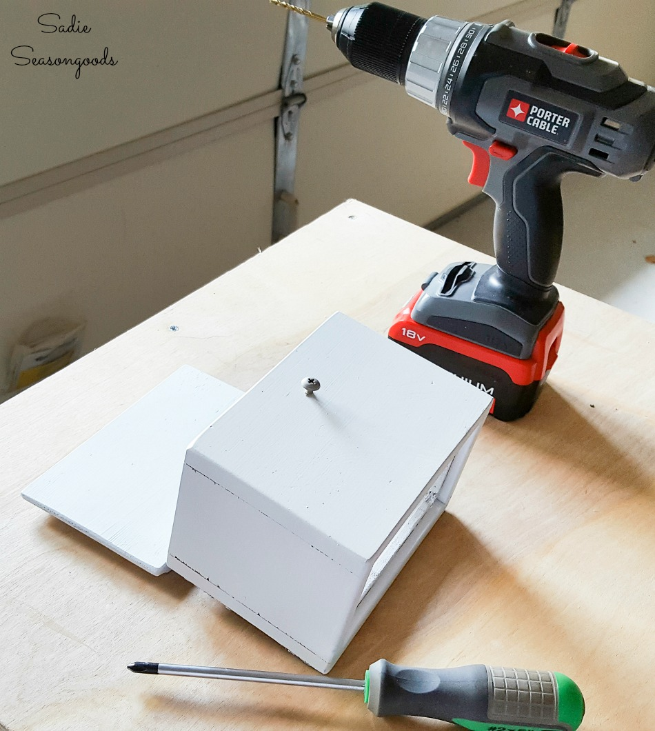 Painting a wooden recipe box for a wall bottle opener