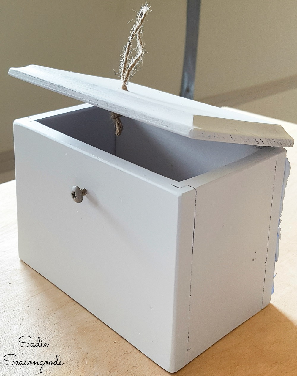Upcycling a recipe card box for a DIY bottle opener