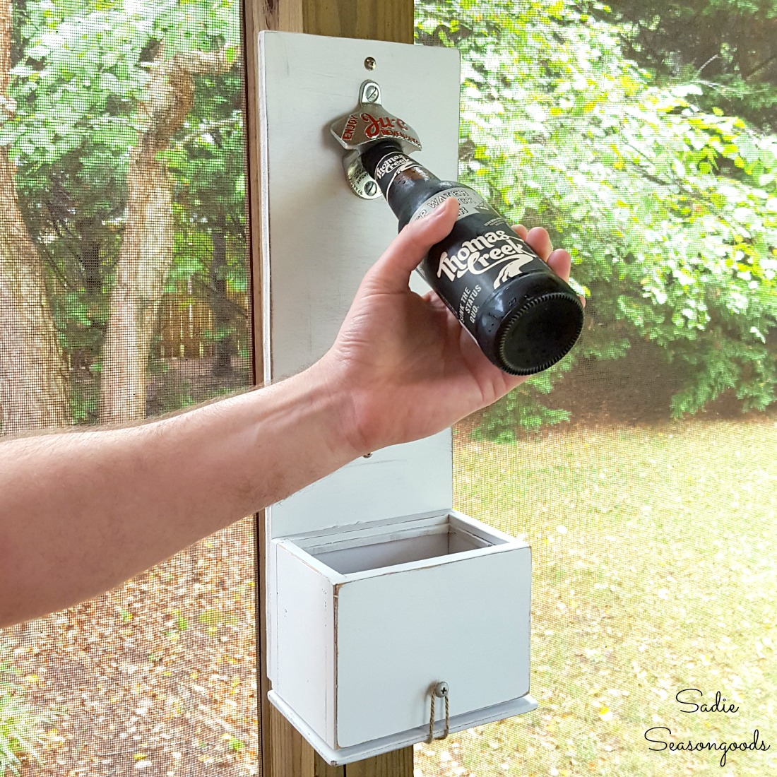 Upcycling a recipe card box into a bottle cap catcher for a wall mounted bottle opener for man cave decor and Father's Day gift by Sadie Seasongoods