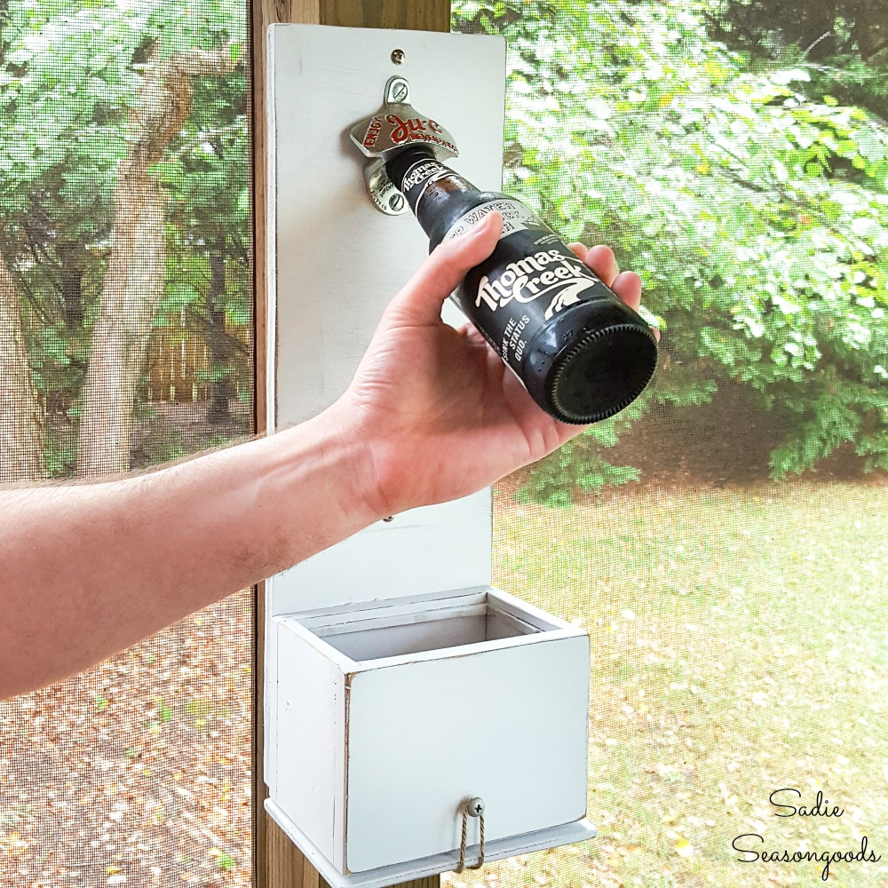 Wall Bottle Opener with a Cap Catcher from a Wooden Recipe Box