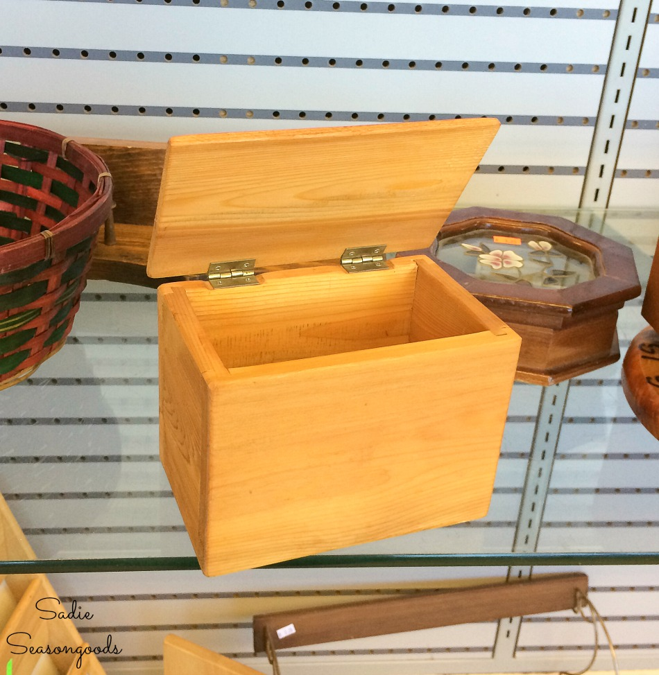 Wooden recipe box at a thrift store