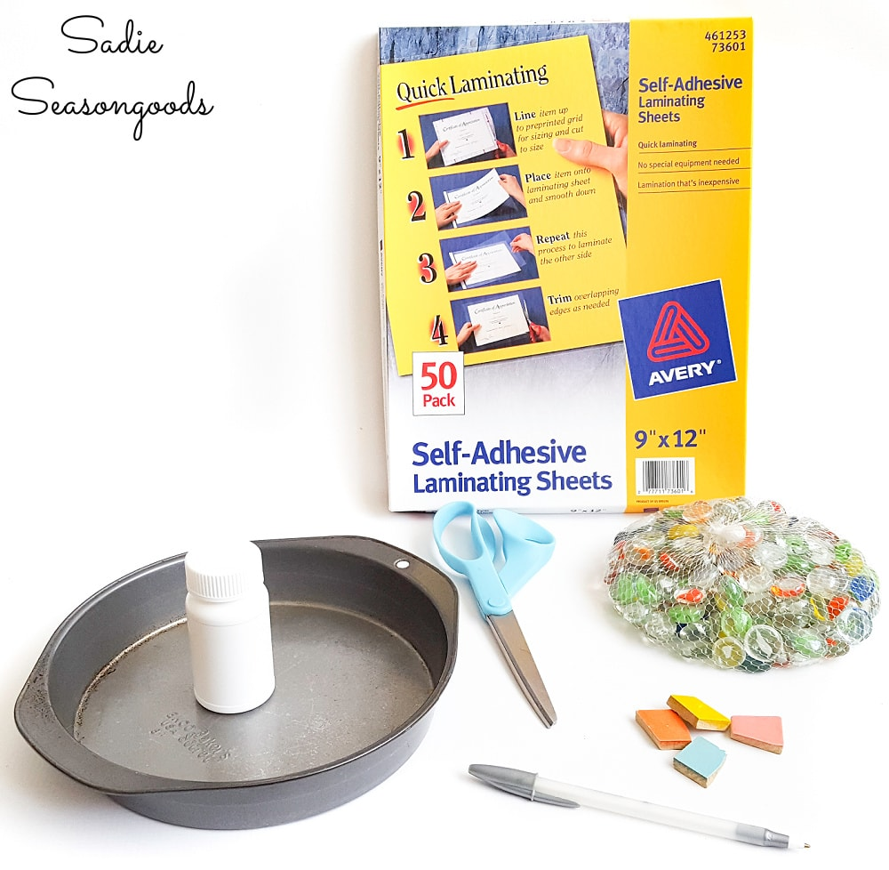 Craft supplies for DIY mosaic stepping stones