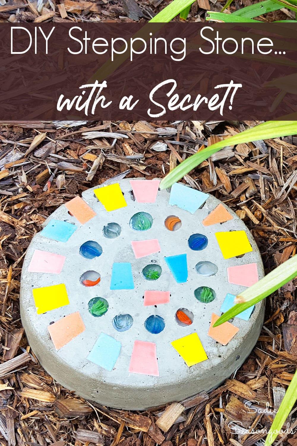 Secret key hider in a DIY stepping stone