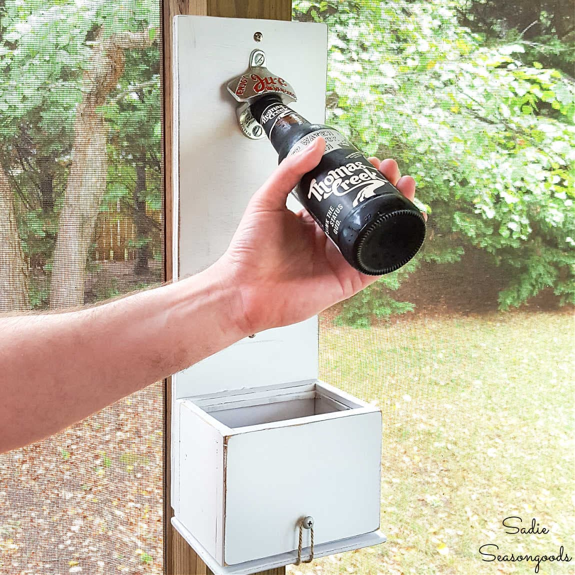 Wall Mounted Bottle Opener with Cap Catcher