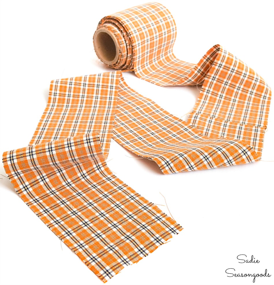 DIY ribbon by repurposing a mens shirt