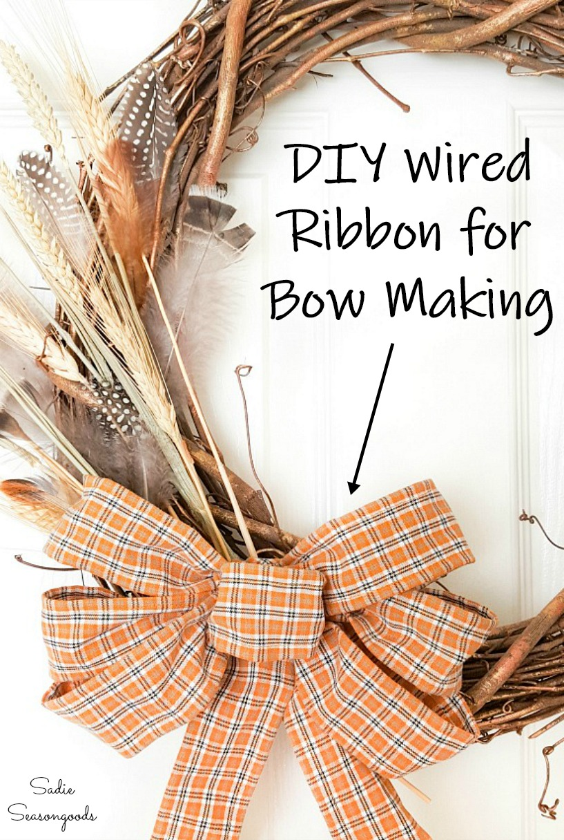 DIY wired ribbon by upcycling clothing