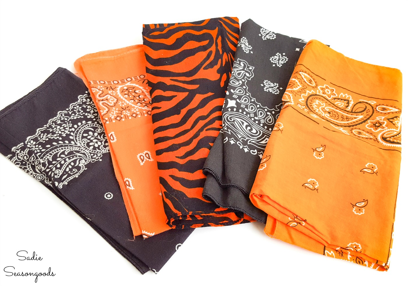 Halloween bandanas in orange and black