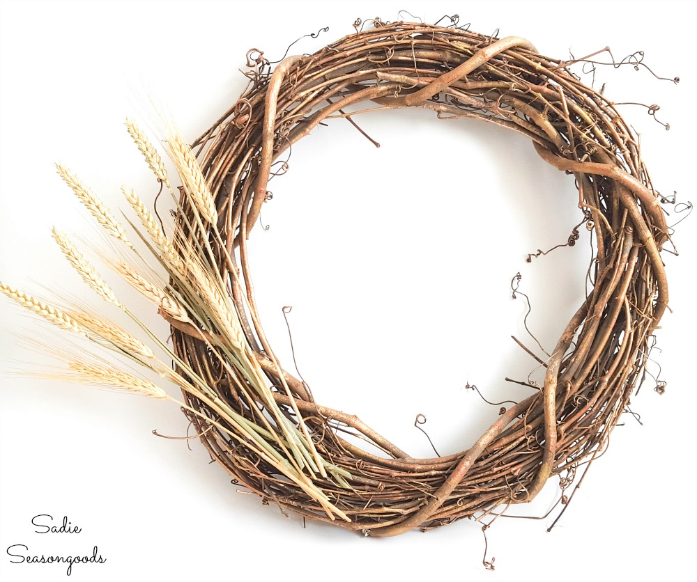 Harvest wreath with dried wheat