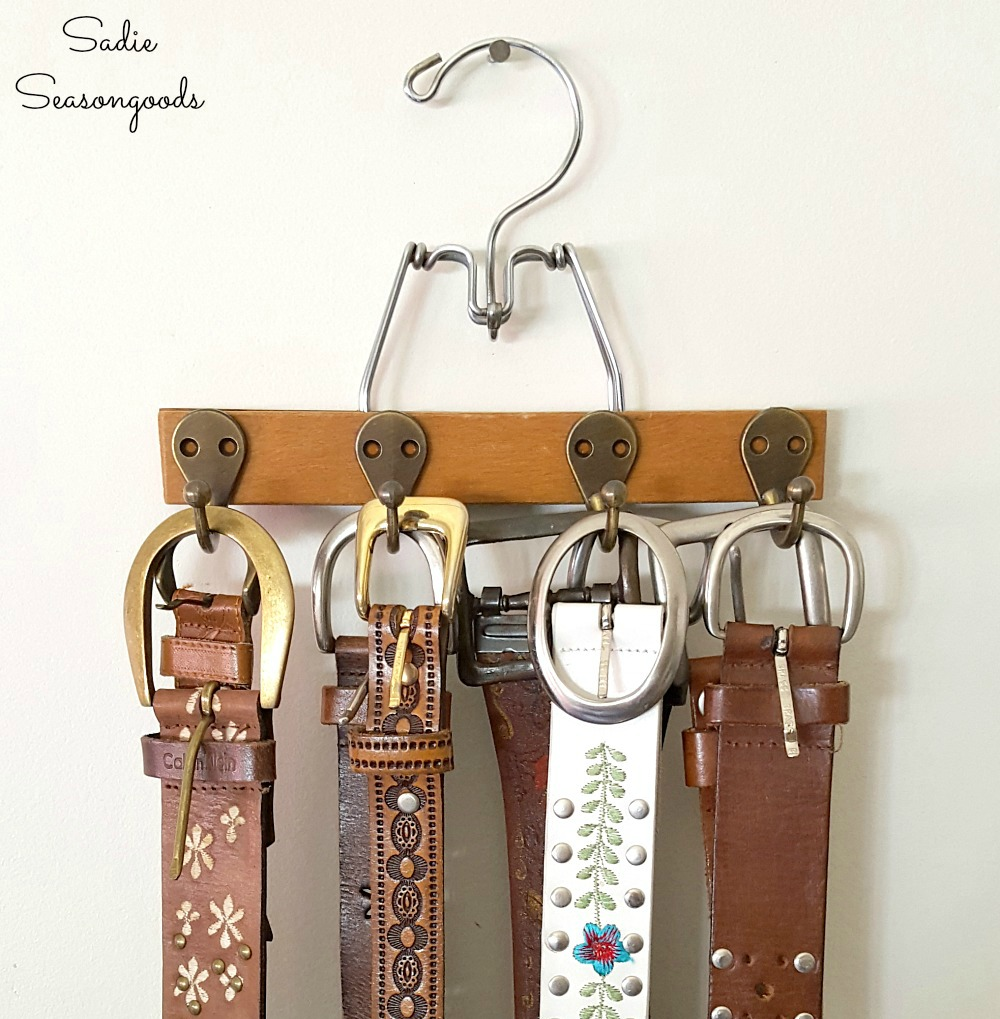 Upcycled Pants Hanger into Belt Hanger / Belt Organizer