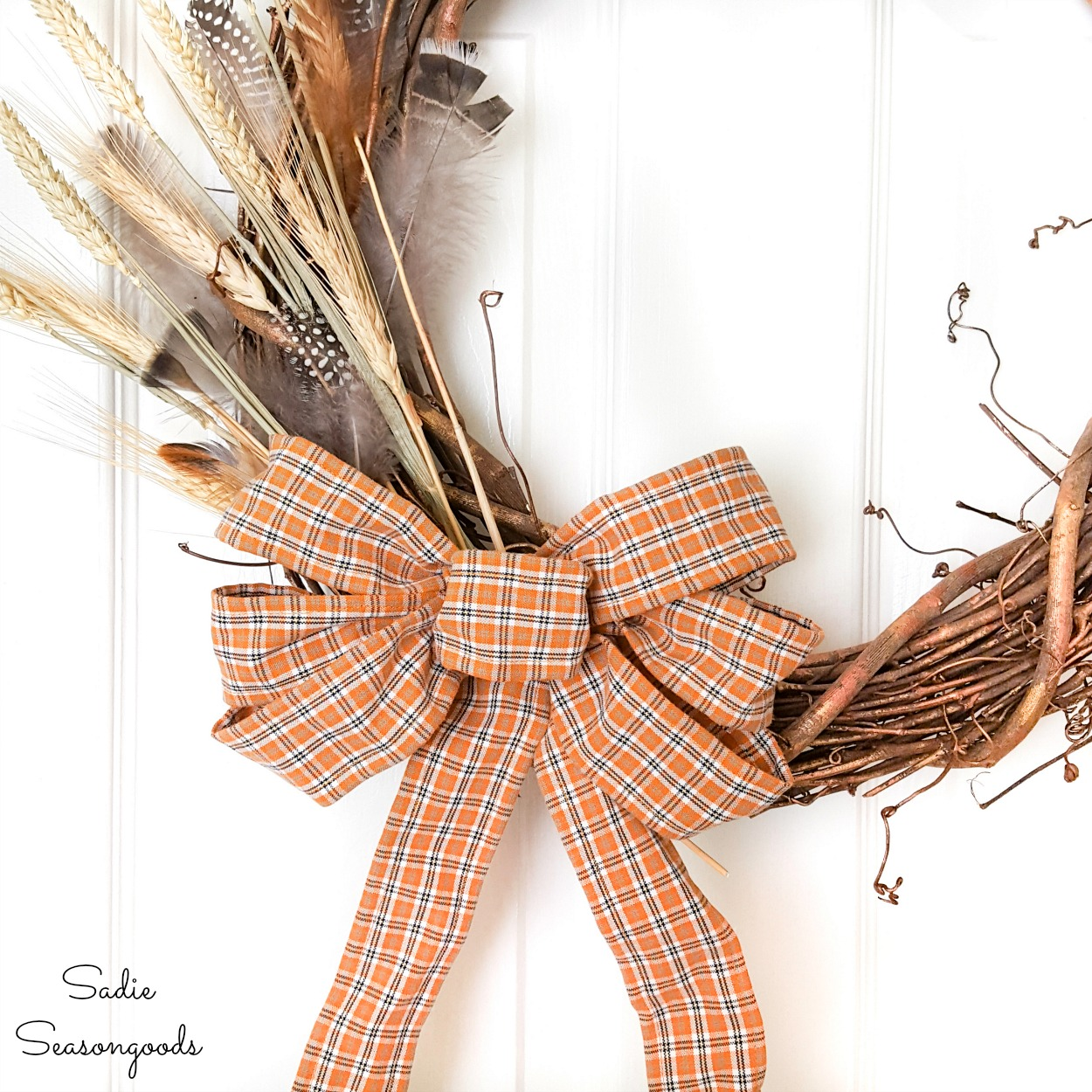 Plaid Ribbon from an Upcycled Shirt for a Harvest Wreath