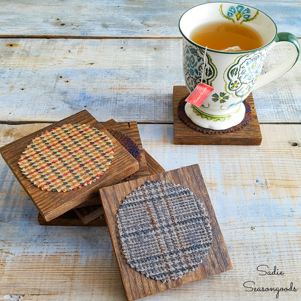 Wooden Coaster Set with Wool Tweed Fabric