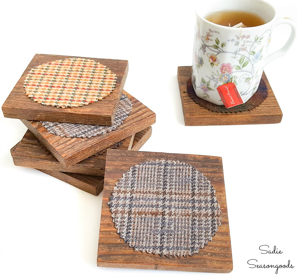 Wooden drink coasters from a recycled coat and salvaged lumber
