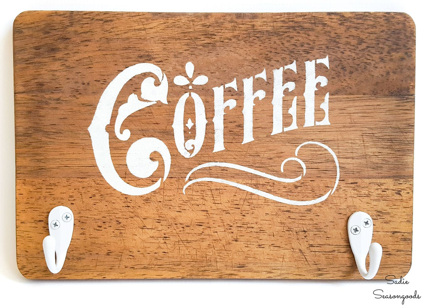 Coffee sign decor from a cutting board