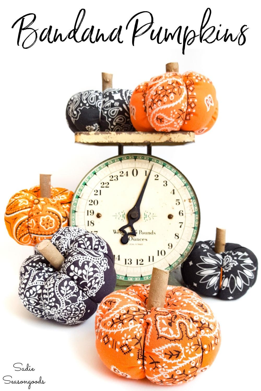 fabric pumpkins from bandana material