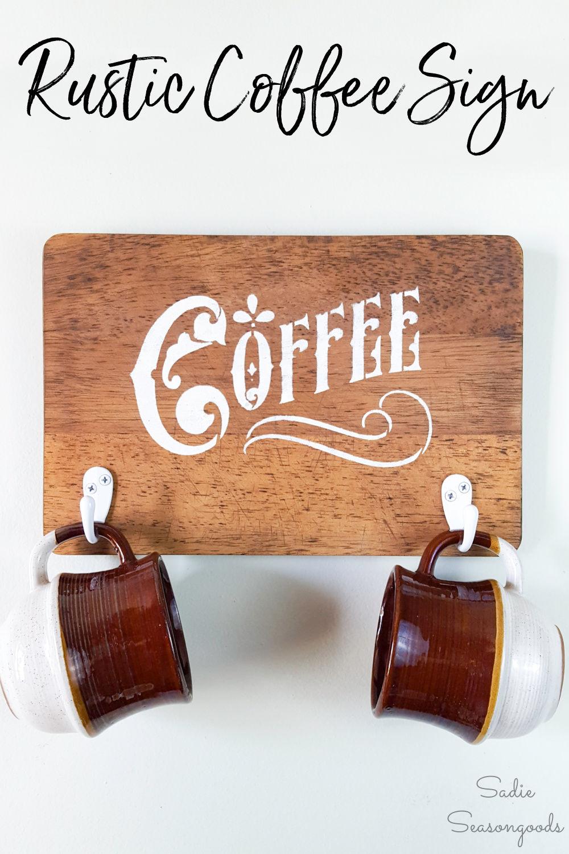 Farmhouse coffee sign on a cutting board