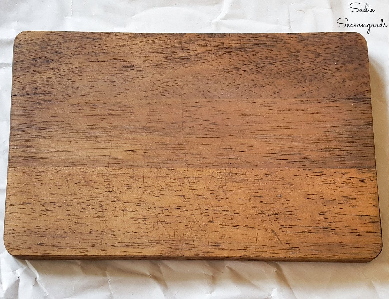 Wood stained cutting board for coffee sign decor