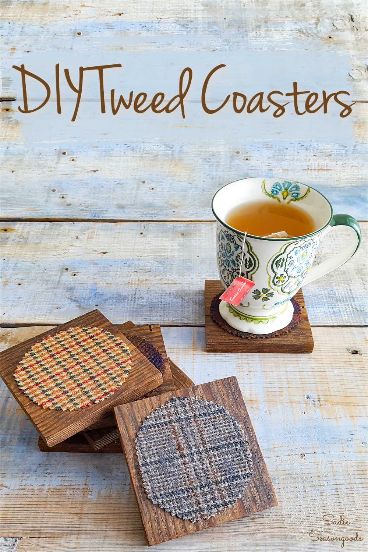 wool tweed fabric on diy coasters