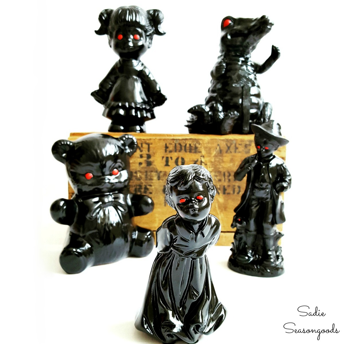 Ceramic figurines from the thrift store that are Halloween figurines and haunted objects by Sadie Seasongoods