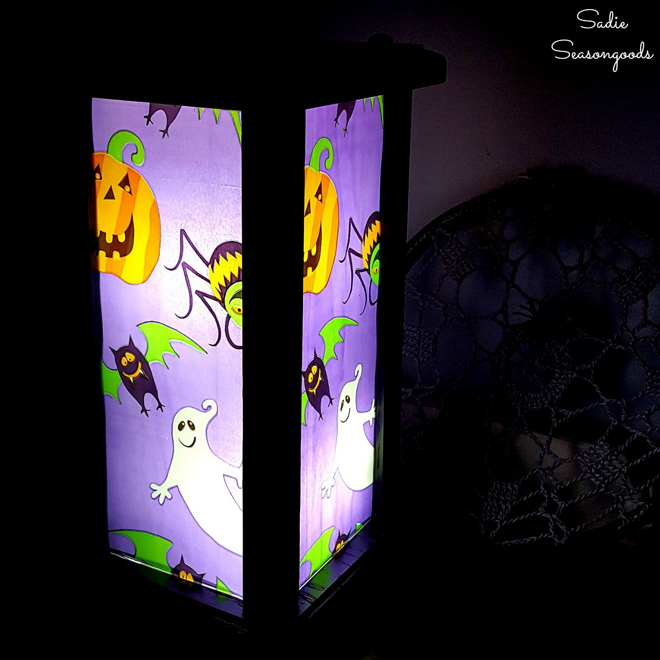 Halloween Lantern from a Wooden Hurricane Lantern
