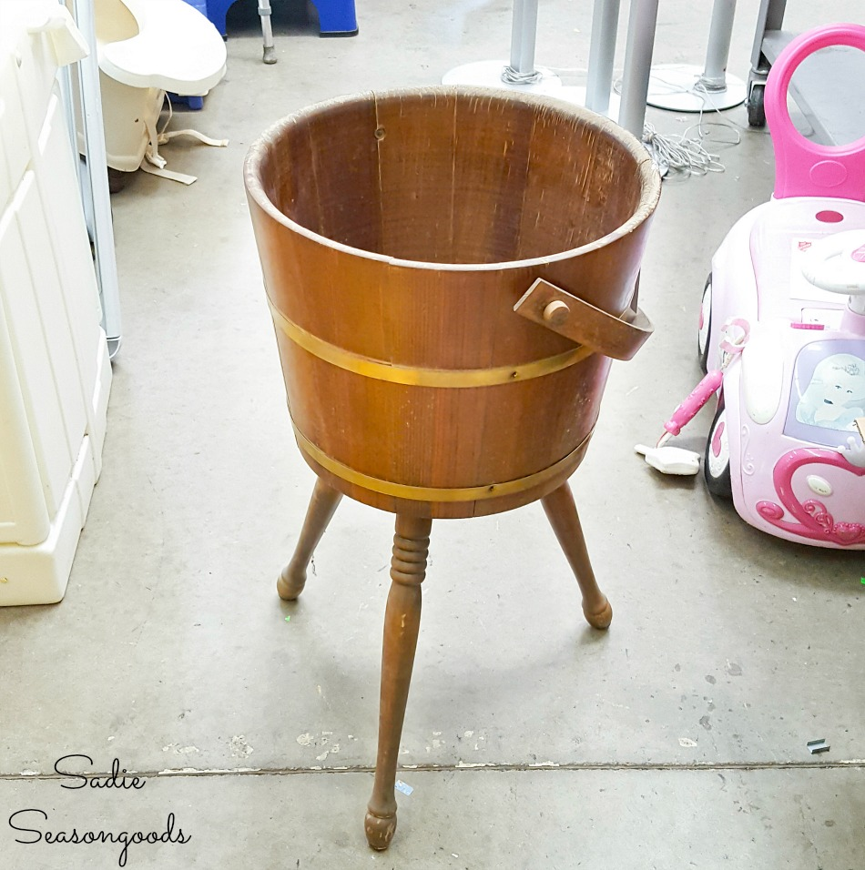 Sewing bucket or sewing firkin at a thrift store