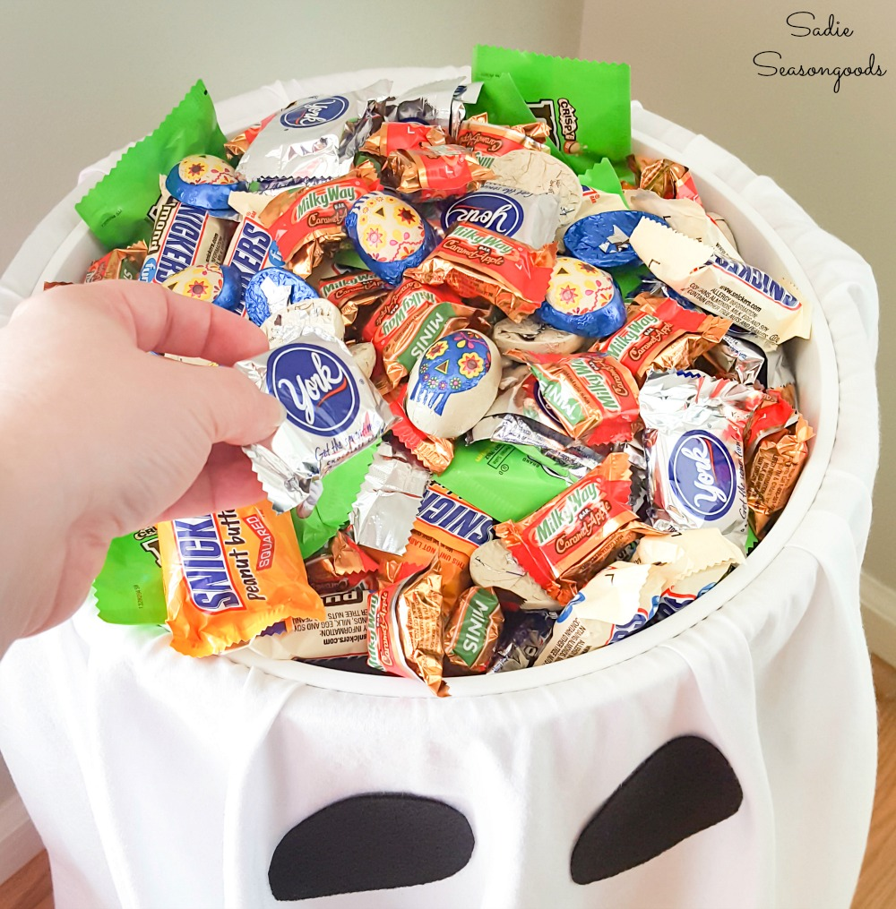 Social distanced Halloween with a candy bowl stand for the front porch