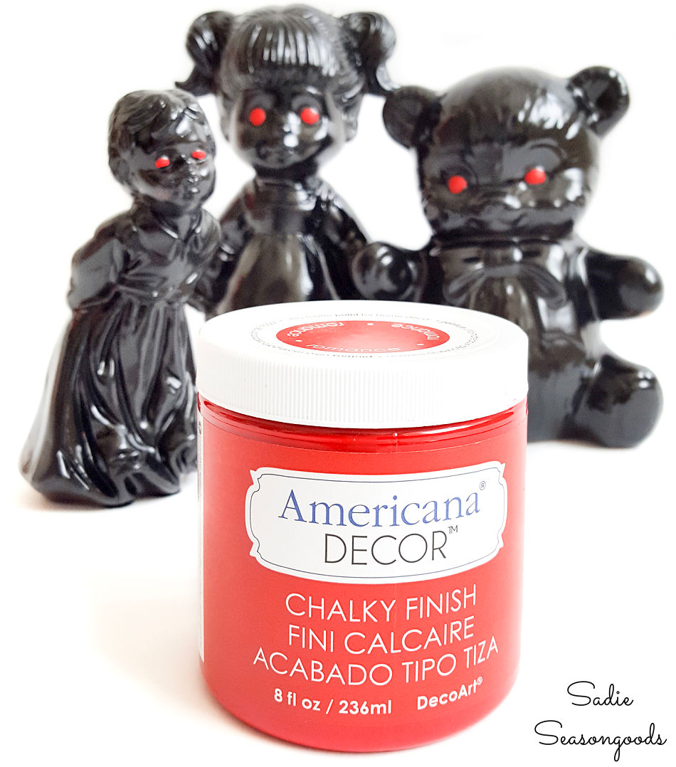 painting the eyes on halloween figurines