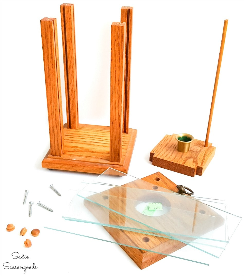 Parts of a wood hurricane lantern for cleaning and painting